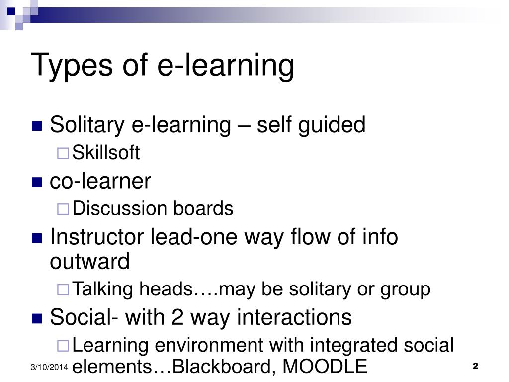 Types of e-learning