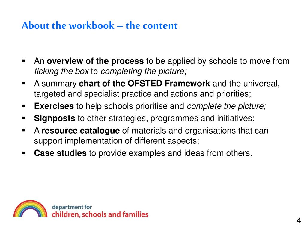 About the workbook – the content