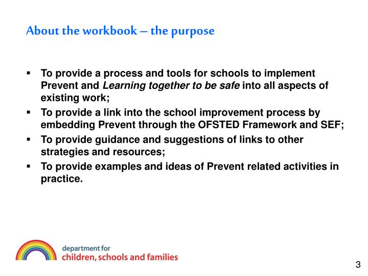 About the workbook the purpose