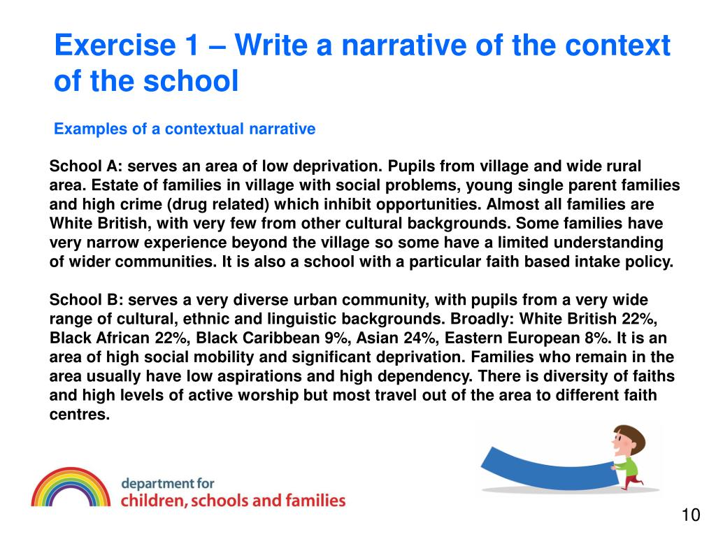 Exercise 1 – Write a narrative of the context of the school