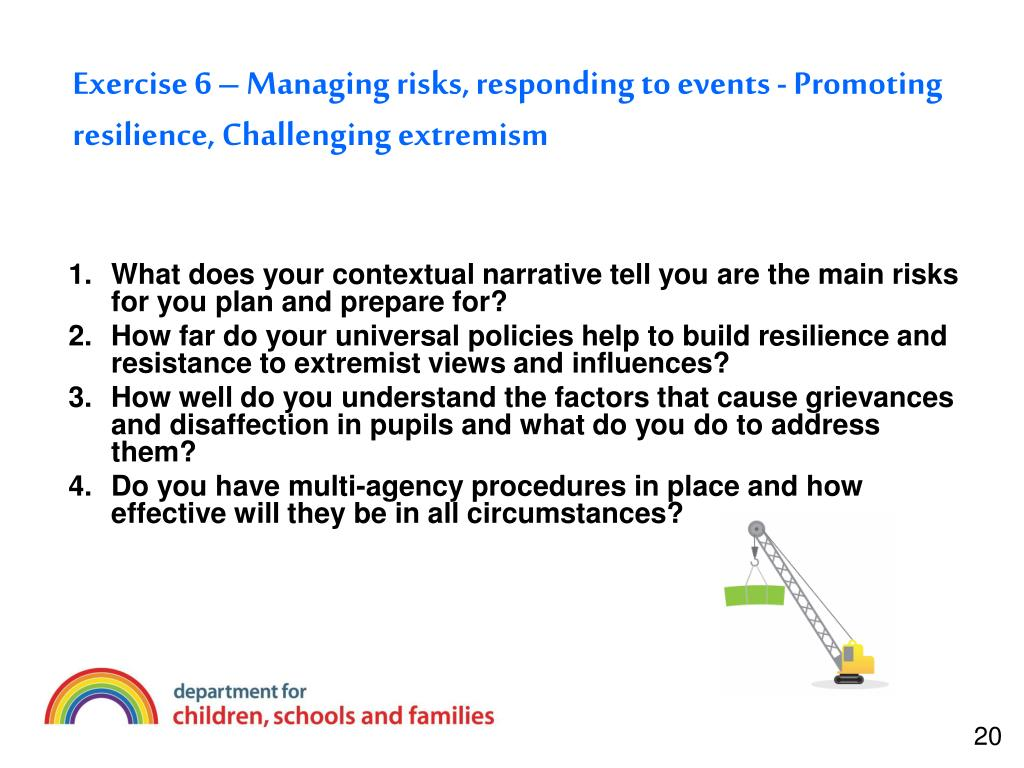 Exercise 6 – Managing risks, responding to events - Promoting resilience, Challenging extremism