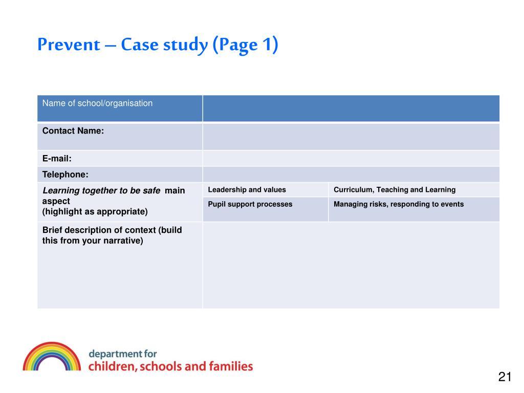 Prevent – Case study (Page 1)