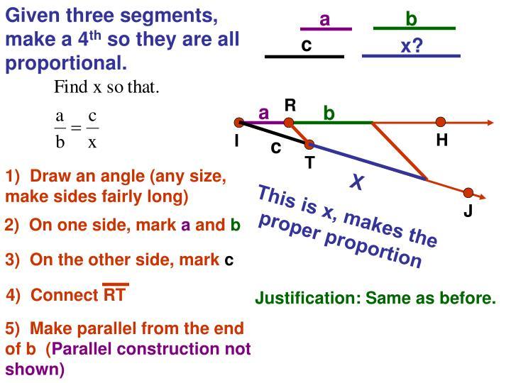 Given three segments, make a 4