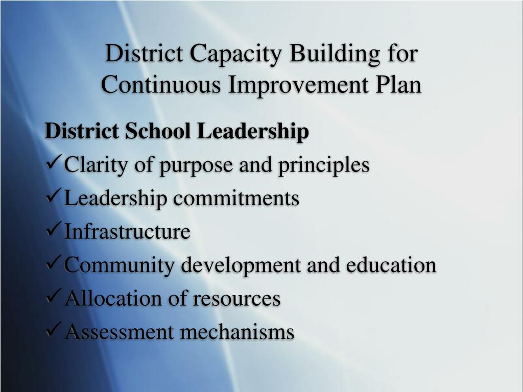 District Capacity Building for Continuous Improvement Plan