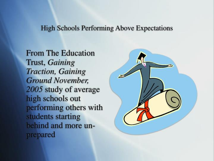 High schools performing above expectations l.jpg