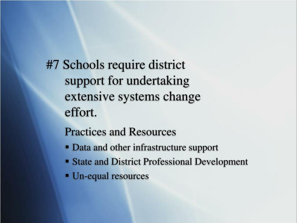 #7 Schools require district support for undertaking extensive systems change effort.