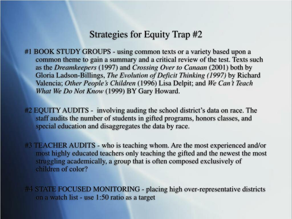 Strategies for Equity Trap #2