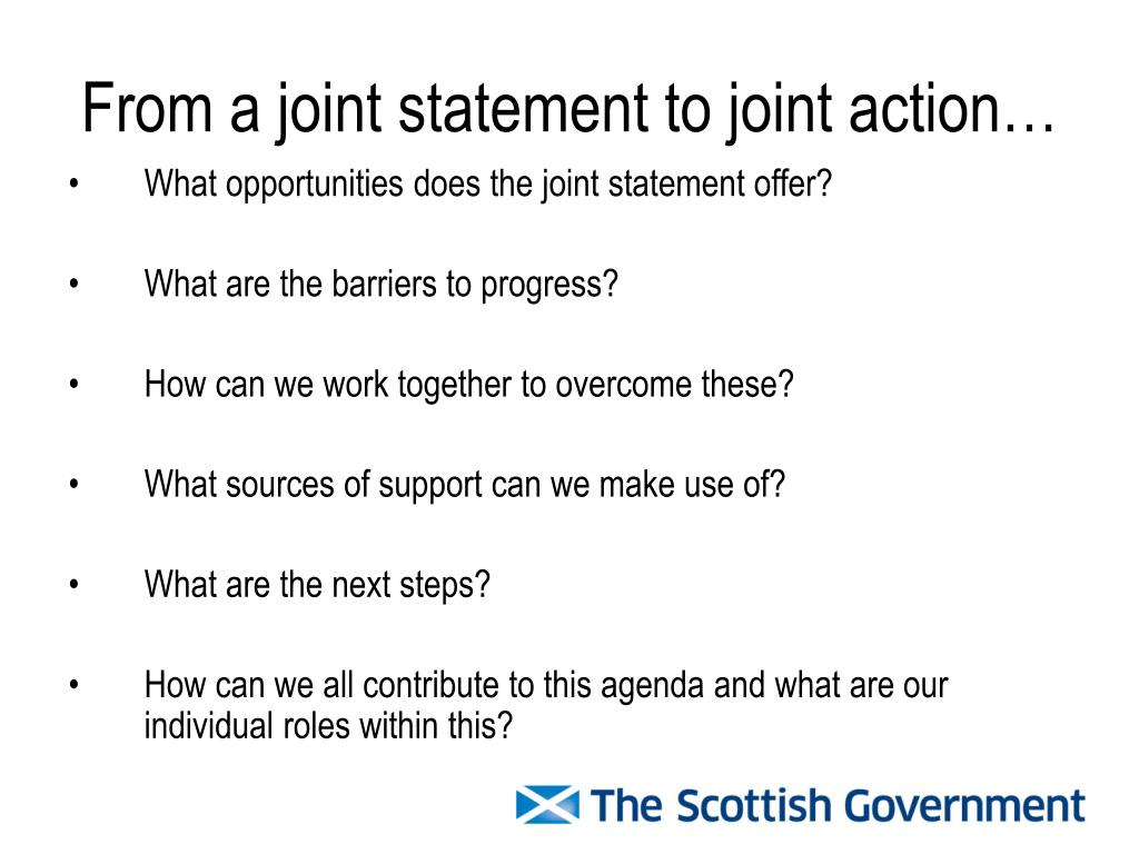 From a joint statement to joint action…