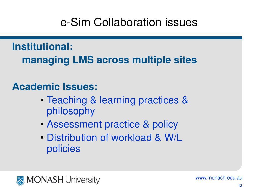 e-Sim Collaboration issues