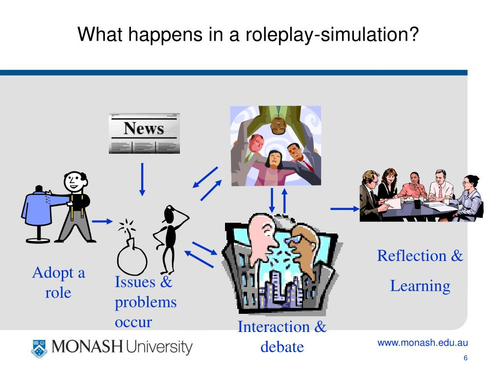 What happens in a roleplay-simulation?