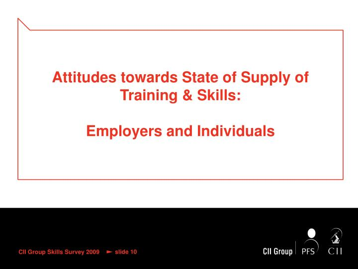 Attitudes towards State of Supply of Training & Skills: