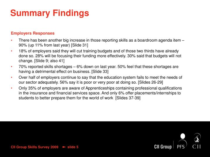 Summary Findings
