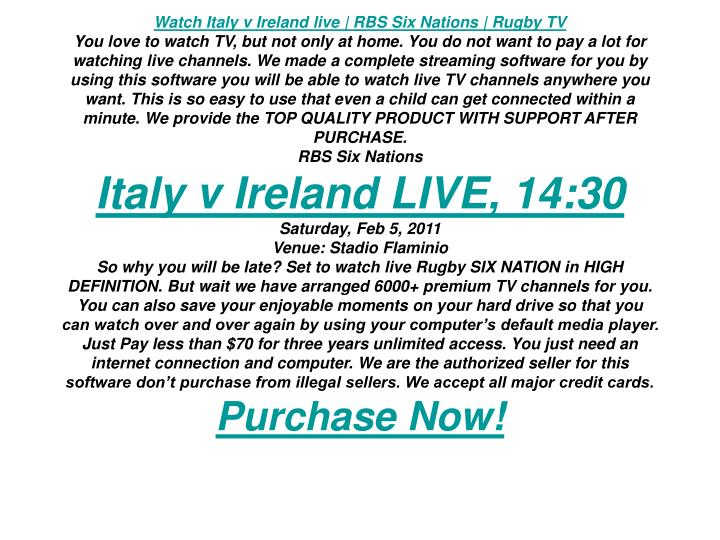 Watch Italy v Ireland live | RBS Six Nations | Rugby TV