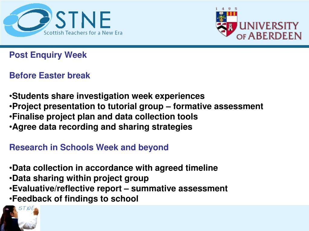 Post Enquiry Week