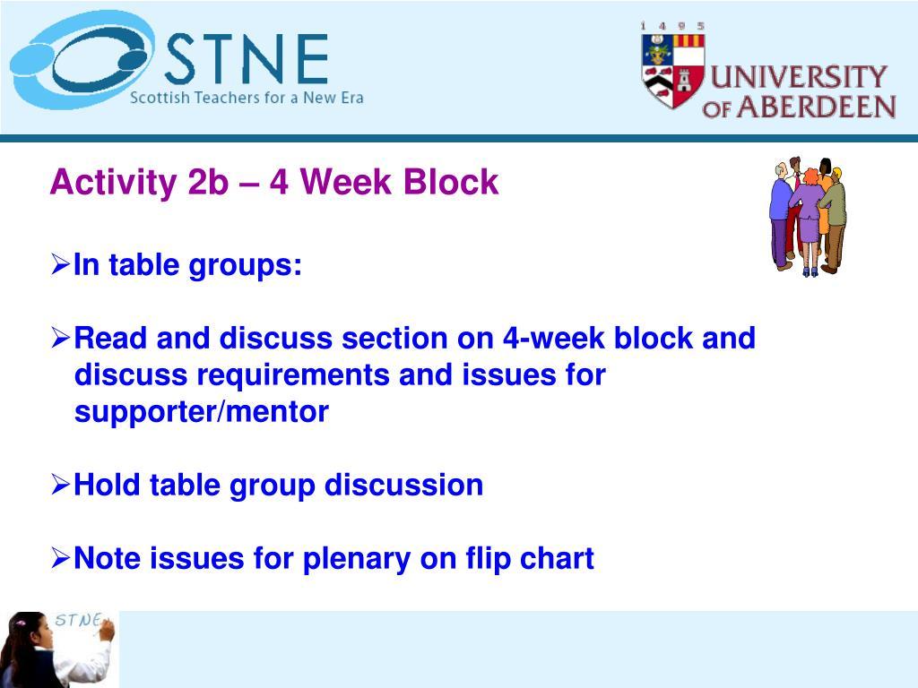 Activity 2b – 4 Week Block