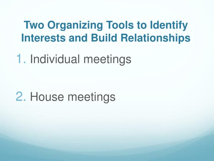 Two Organizing Tools to Identify Interests and Build Relationships