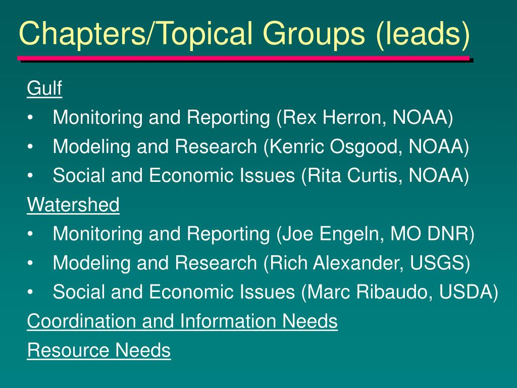 Chapters/Topical Groups (leads)