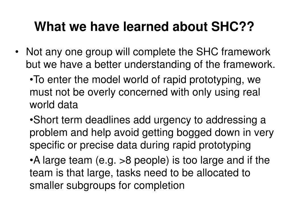 What we have learned about SHC??