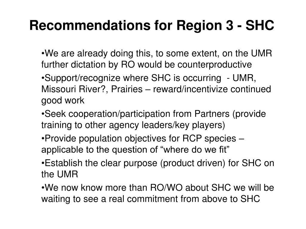 Recommendations for Region 3 - SHC