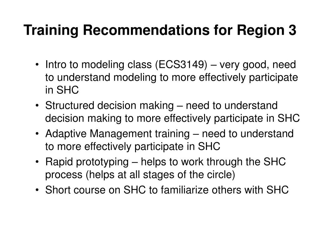 Training Recommendations for Region 3