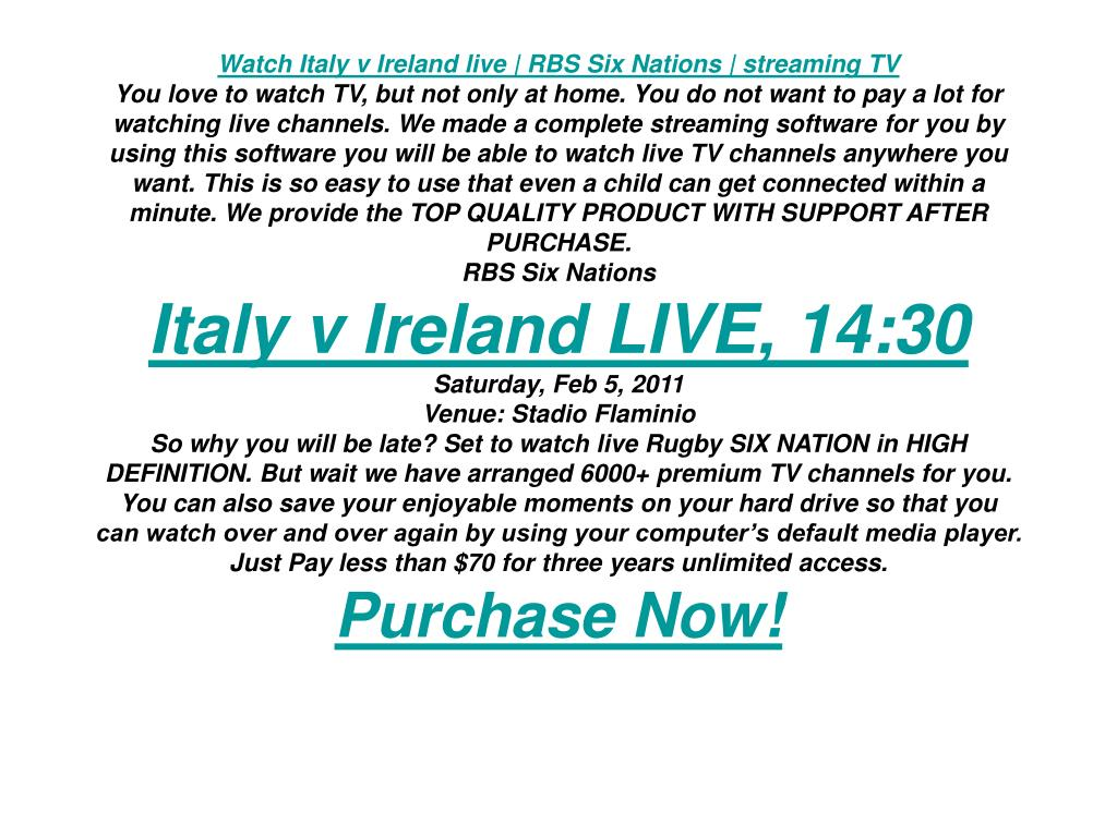Watch Italy v Ireland live | RBS Six Nations | streaming TV