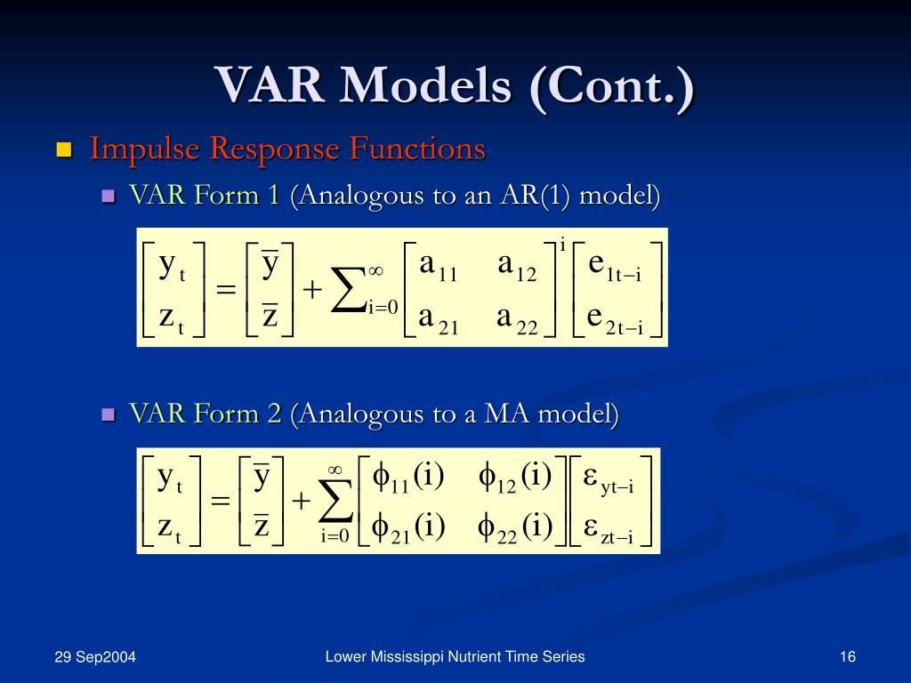 VAR Models (Cont.)