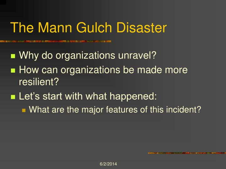 the mann gulch disaster In the reading for this week, weick examines the mann gulch wildfire disaster in attempts to understand how organizations unravel the 15 smokejumpers who were deployed to suppress the fire had.