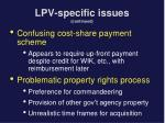 lpv specific issues continued14