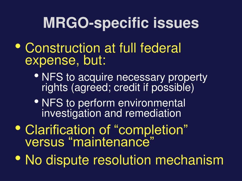 MRGO-specific issues