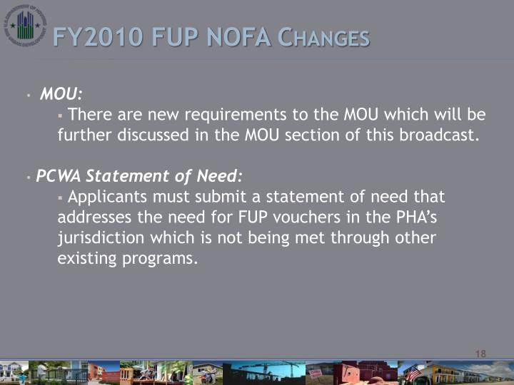 FY2010 FUP NOFA Changes