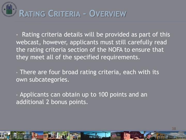 Rating Criteria - Overview