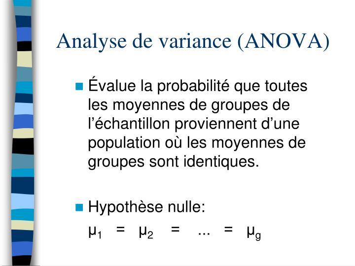 Analyse de variance (ANOVA)