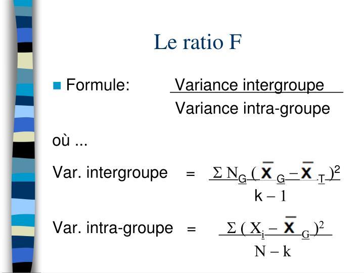 Le ratio F
