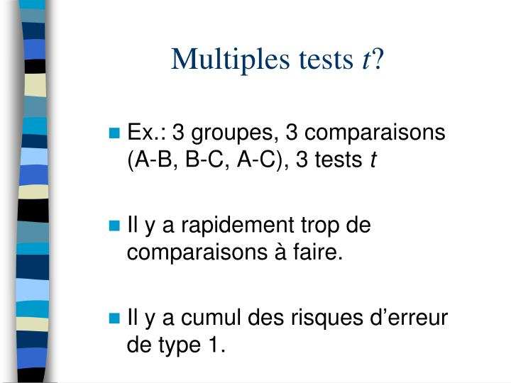 Multiples tests