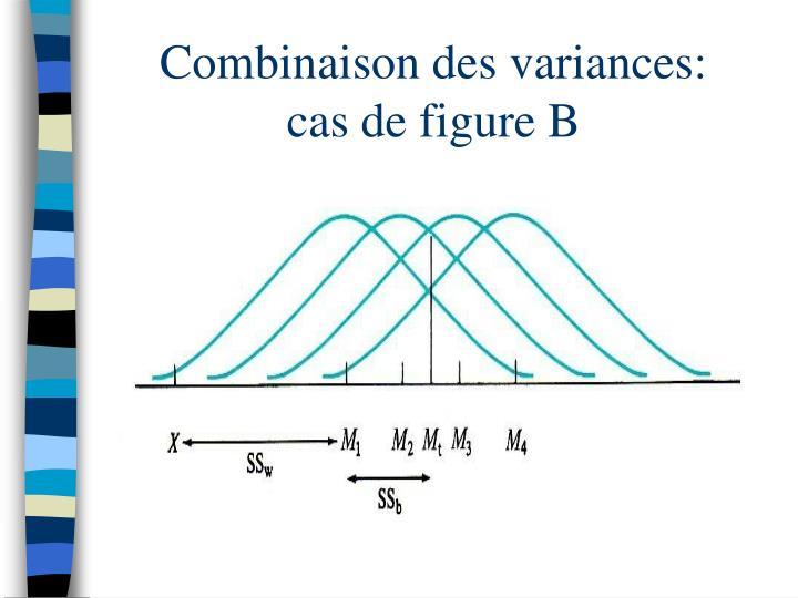 Combinaison des variances:      cas de figure B