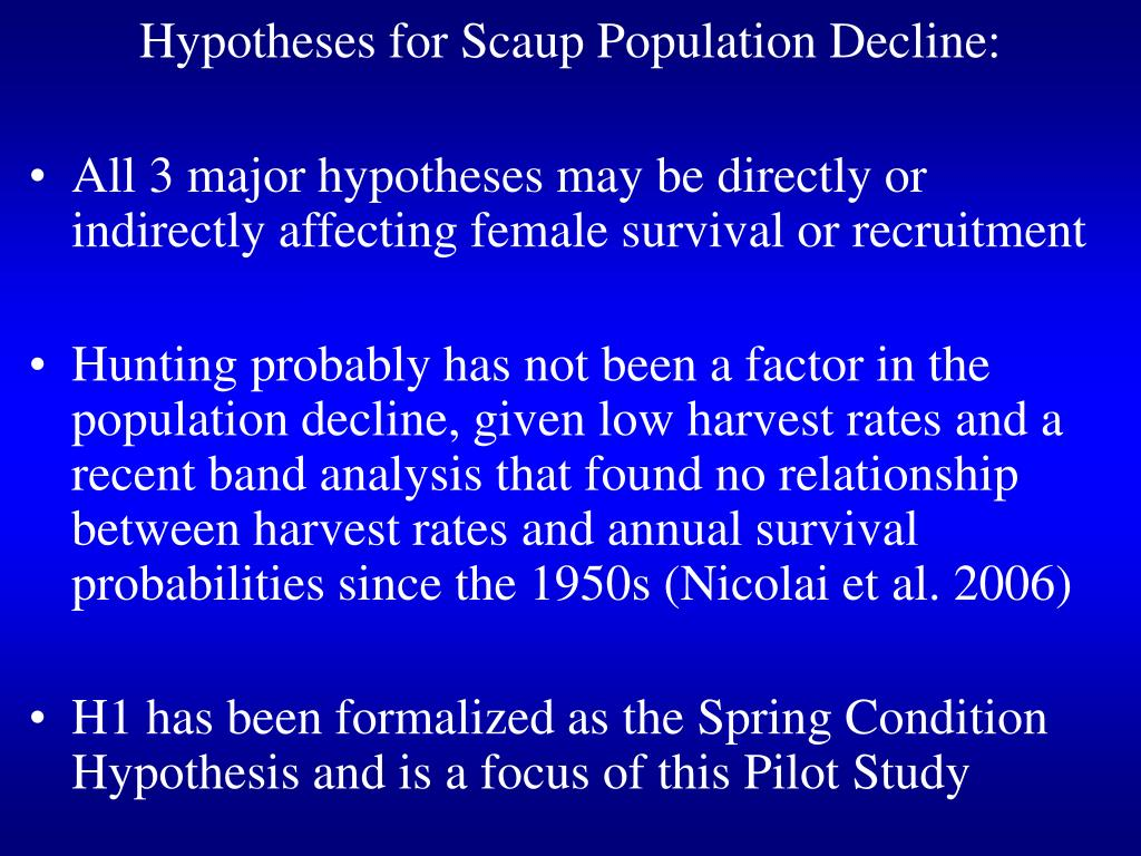 Hypotheses for Scaup Population Decline: