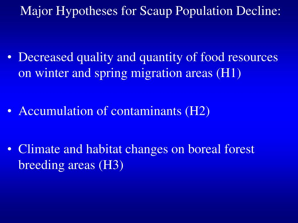 Major Hypotheses for Scaup Population Decline:
