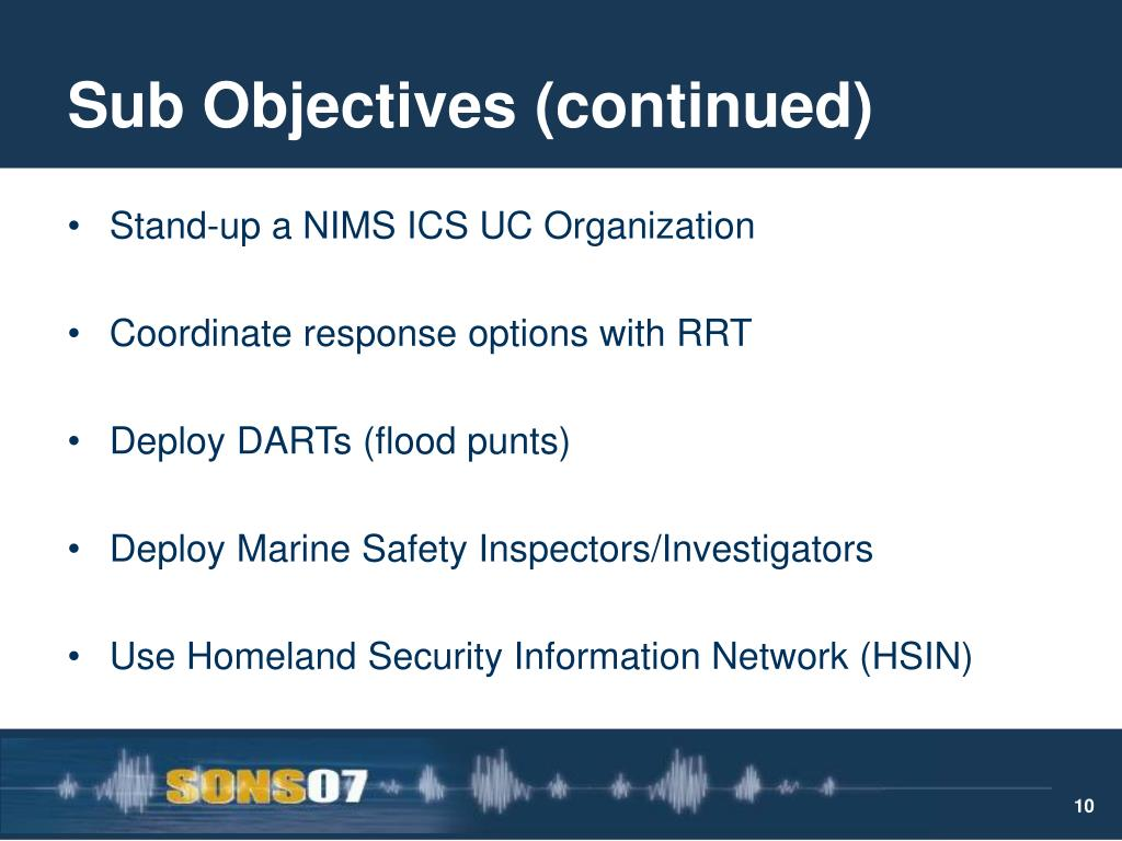 Sub Objectives (continued)