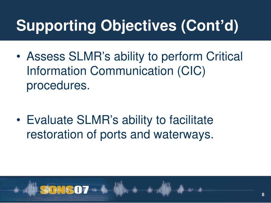 Supporting Objectives (Cont'd)