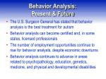 behavior analysis present future