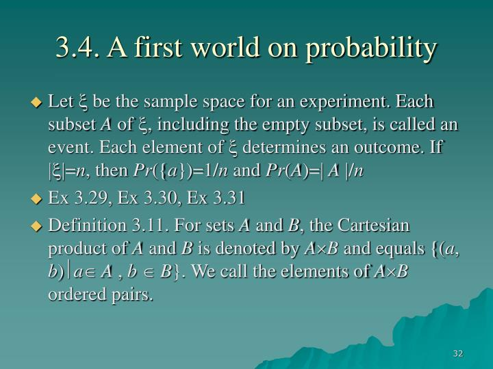 3.4. A first world on probability