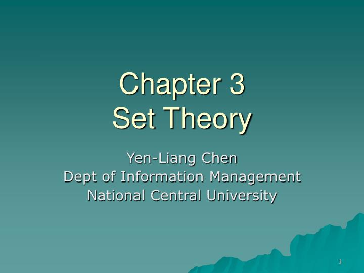 Chapter 3 set theory