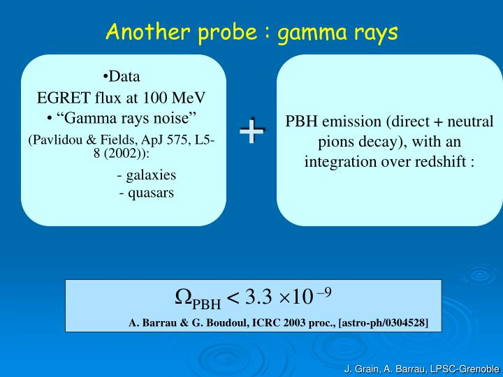 Another probe : gamma rays