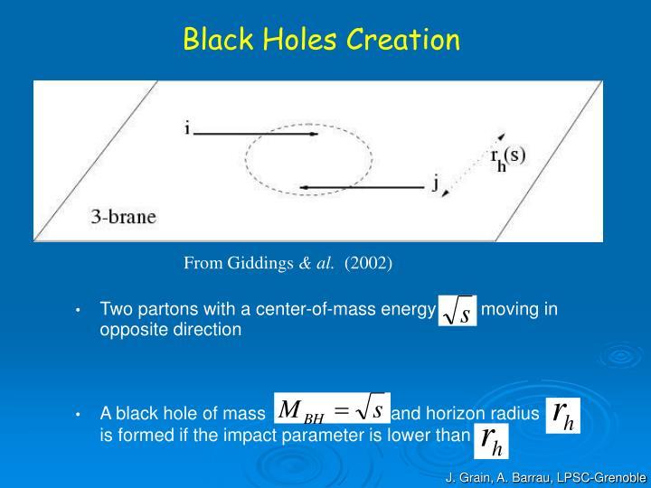 Black Holes Creation