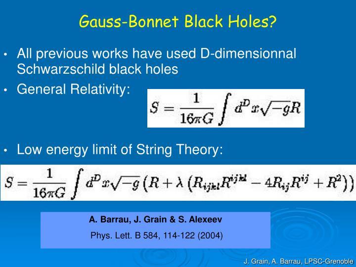 Gauss-Bonnet Black Holes?