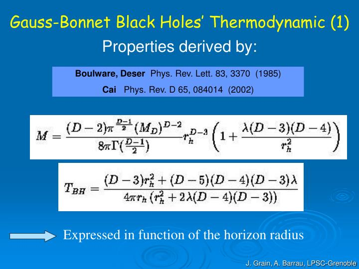 Gauss-Bonnet Black Holes' Thermodynamic (1)