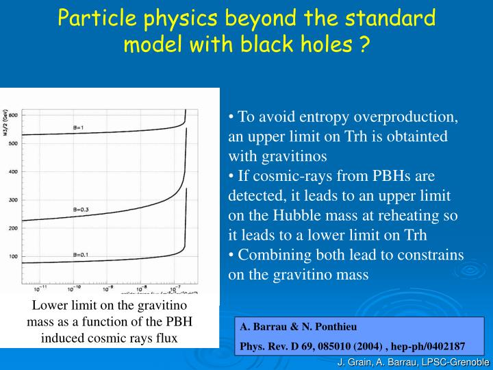 Particle physics beyond the standard model with black holes ?