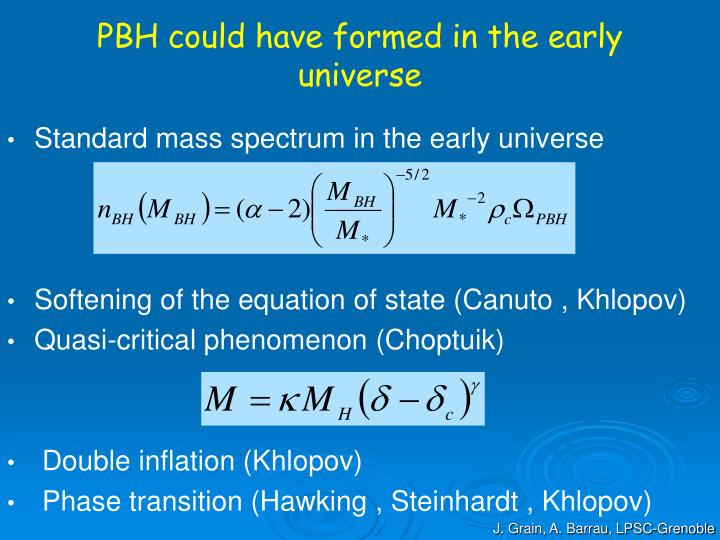 PBH could have formed in the early universe