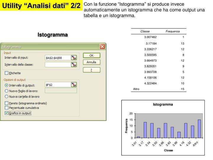 """Utility """"Analisi dati"""" 2/2"""