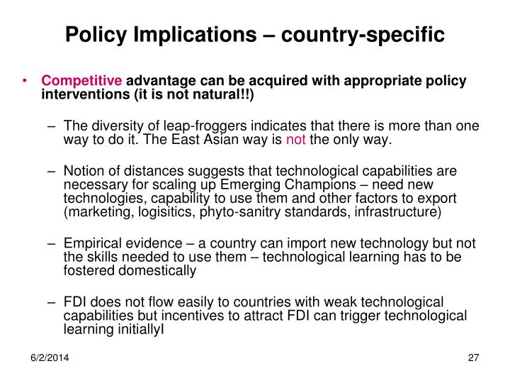 Policy Implications – country-specific